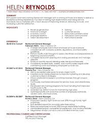 Restaurant Manager Resume Best Example For Examples District
