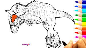 Carnotaurus Drawing Dinosaur Jurassic World Coloring Pages For Kids How To Draw
