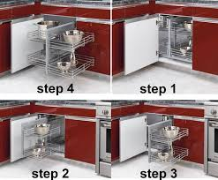 kitchen blind corner cabinet organizer chrome baskets pullout