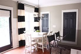 Light Gray Painted Wall Black Interior Doors And White Striped Drapery Ceiling