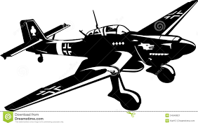 Vector Illustration A Bomber Ju 87 Black And White Vmzfhk Clipart