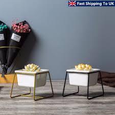 Iron Display Rack W/ Ceramic Vase Landscape Shelf Flower Plant Pot Stand  Decor