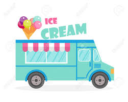 100 Icecream Truck Street Food Illustration Ice Cream Van Delivery Flat
