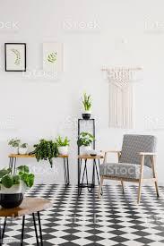 echtes foto einem retrosessel schwarz weiß aufgegebenes erdgeschoss im hellen wohnzimmer interieur mit pflanzen stockfoto und mehr bilder