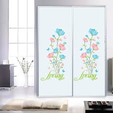 Blue And Pink Spring Flowers Wall Stickers Cabinet Window Glass Bathroom Lovely Decor Art