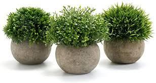 gomaihe kunstpflanze 3 stücke künstliche pflanze mit grauem topf 9 5 x 13cm indoor und outdoor kunststoff fälschung grünes gras deko wohnzimmer