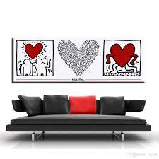 großhandel zz1399 moderne dekorative leinwand kunst herzen keith haring leinwand ölkunst malerei wandbilder für wohnzimmer schlafzimmer dekoration