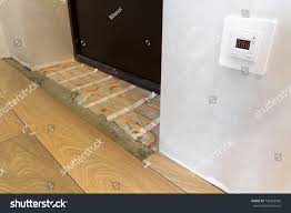 installation heating elements warm tile floor stock photo