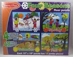 melissa doug four seasons floor puzzles 4 puzzles 48 pieces