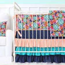 jocelyn s navy coral ruffle baby bedding caden lane