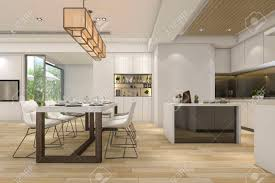Modern White Kitchen Interior 3d Rendering Stockfoto Und 3d Rendering Beautiful Modern White Kitchen And Dining Room