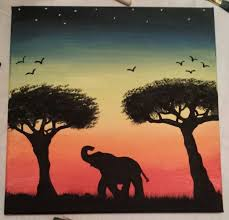 Sunset And Easy Elephant Painting Idea