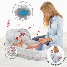 LulyBoo Baby Lounge Lights & Music Breathable Travel Bed Walmart