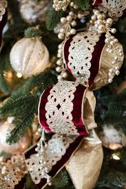 Maroon And Gold Christmas Ribbon With Ornaments