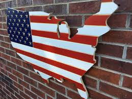 Red White And Blue Engraved Wooden American Flag USA Map