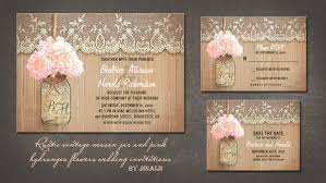 Pink Hydrangea Mason Jar Rustic Wedding Invites