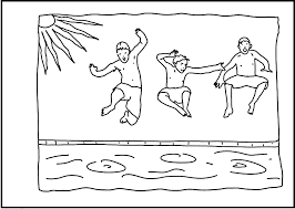 Simultaneously Plunge Into Swimming Pool Coloring Picture For Kids