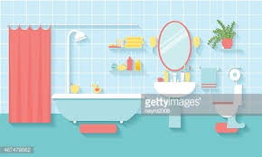 bathroom interior in flat style clipart image