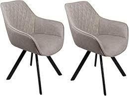 sam stilvoller armlehnstuhl amelie 2er set kunstlederbezug in grau abgestepptes design schwarze beine aus metall bequemer sitzkomfort