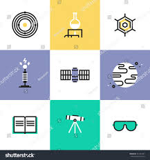 Flat Line Icons Science Experiment Space Stock Vector