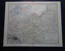 POLAND Old Map 1872 Antique Hand Colored Print Poster Of Prussia Posen Germany Poznan Gdansk