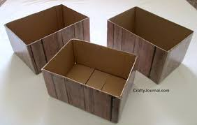 How To Make Easy Faux Wood Crates From Cardboard Boxes By Crafty Journal