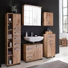 w schildmeyer möbel milan badmöbel set 5 tlg für badezimmer mit spiegelschrank highboard waschbeckenunterschrank hochschrank und oberschrank