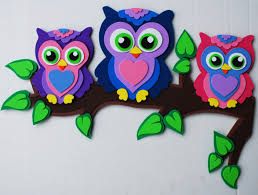 Diy Room Decor With Glitter Sheets Owls In Foam Craft My Foamfriends Creations On Triangle