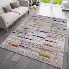 teppich wohnzimmer schlafzimmer flur teppich gestreift muster in grau gelb