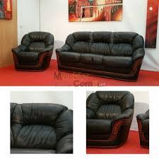 canapé cuir et bois rustique salon canapé convertible 3 places fauteuil cuir noir bois apparent