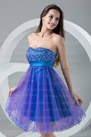 purple blue sweetheart cocktail dresses strapless beads sash