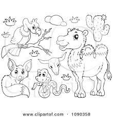Clipart Outlined Vulture Snake Fox And Camel Desert Animals