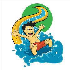 Illustration Vector Children Play On Water Slide Stock Art More Images Of Boys 690291406