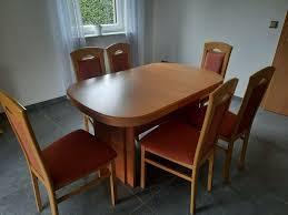 buche massiv esszimmer mit ausziehbarem tisch und 6 stühlen