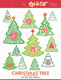 Christmas Tree Monogram Frames SVG EPS DXF Studio3 Cut