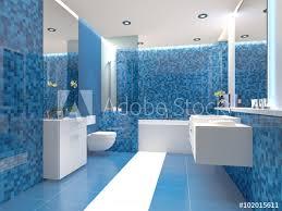 badezimmer trend blau weiß weiss modern fototapete
