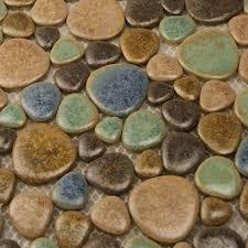 porcelain pebble tile backsplash shaped ceramic tile