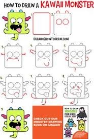 How To Draw A Cute Kawaii Monster With Easy Step By Drawing Tutorial For Kids