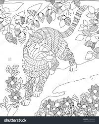 Zentangle Panther Animal Coloring Page