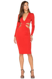 bec u0026 bridge trixie long sleeve plunge dress in red lyst