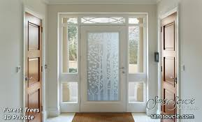 Glass Entry Doors Etched Trees Rustic Style Forest 3D Private