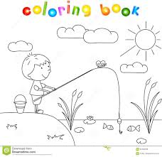 Boy Fisherman With Fishing Rod On The Lake Coloring Book Stock