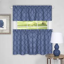 sweet home collection colby window kitchen curtains valance 58 w x 14 l valance blue