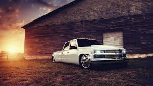 100 Low Rider Truck Chevrolet Truck Tuning White Building Lowrider Sunset