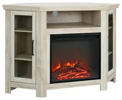 Corner Wooden Tv Stands Wood Fireplace Media Stand Console White Oak Transitional Entertainment
