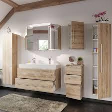badezimmer set mit 100cm doppel waschtisch lissabon 02 in eiche hell b h t 250 200 48cm