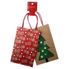 2ct Winter HoHoHo Christmas Tree Tote Gift Bag