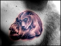 Cute Bear Tattoo On Chest Photo