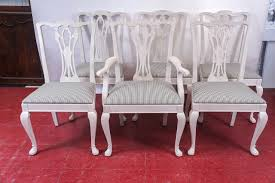 100 Dining Chairs Painted Wood Six ChippendaleStyle For Sale At 1stdibs