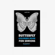 Butterfly Coloring Book For Seniors Black Background 30